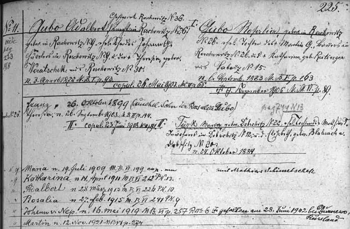 Její otec Adalbert Gubo, hostinský v Radošovicích, syn Johanna Gubo, domkáře v Radošovicích a Theresie, roz. Woratschekové, také z Radošovic, měl dvě ženy: s tou prvou, Rosalií Gubo (dcerou radošovického sedláka Martina Gubo a Kathariny, roz. Reitingerové, ze Záboří), vyženil nemanželského syna Franze a měl dceru Theresii, s tou druhou, byla to Maria Türk z Dobčic, dcera Mathiase Türka a jeho ženy Elisabeth, roz. Blahuschové, měl pak tři dcery a tři syny (jeden z nich padl roku 1942 v Rusku), mezi nimi i Katharinu, narozenou v Radošovicích, jak vidíme v zápisu rodového registru strýčické fary, 14. dubna 1911