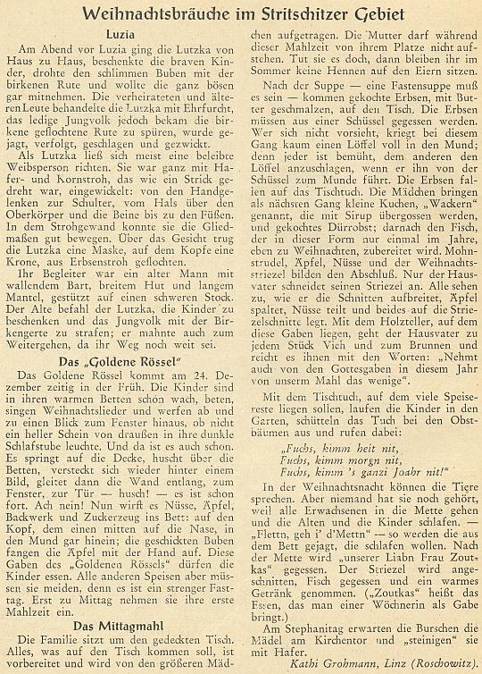 Prvé otištění jejích textů ve vánočním čísle krajanského měsíčníku v roce 1953