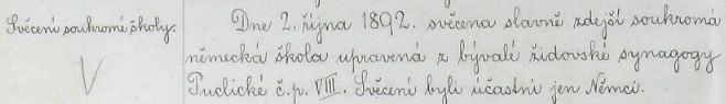 Záznam v kronice české školy v jeho rodných Puclicích dosvědčuje, že německá soukromá škola, na níž učili oba jeho rodiče, byla upravena zbývalé židovské synagogy čp. 8