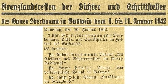"""Takto budějovický německý list avizoval jeho projev na """"hraničářském setkání"""" německých spisovatelů v Českých Budějovicích"""