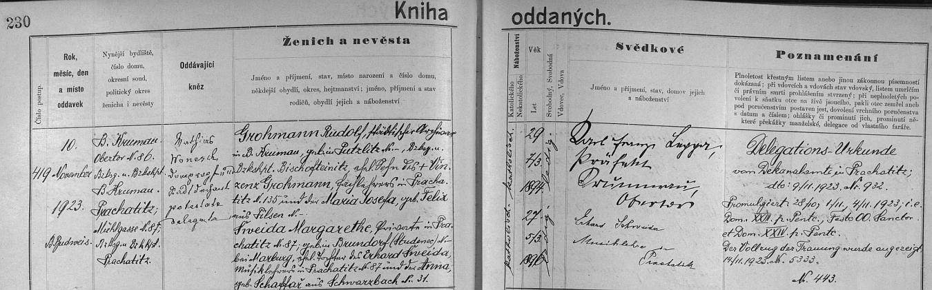 Záznam českobudějovické oddací matriky o jeho zdejší svatbě s Margarethe Šweida, jak je tu nevěsta psána, dne 10. listopadu roku 1923