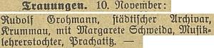 Zpráva budějovického německého listu u nevěsty uvádí, že je dcerou prachatického učitele hudby
