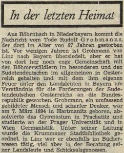 Stručný nekrolog na stránkách listu Sudetenpost