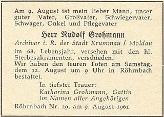 Parte, na němž je jako pozůstalá uvedena jeho druhá žena Katharina, roz. Gubo