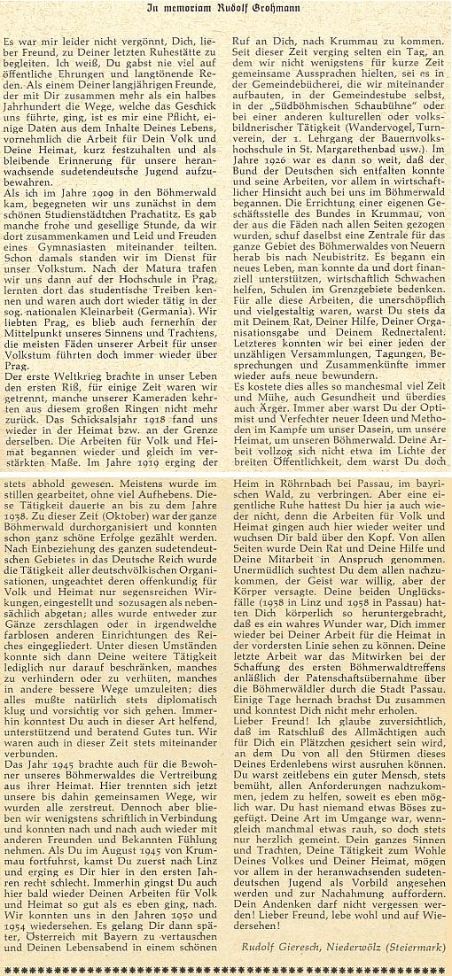 Nekrolog na stránkách krajanského měsíčníku oslovuje zemřelého milý příteli a psal ho Rudolf Gieresch