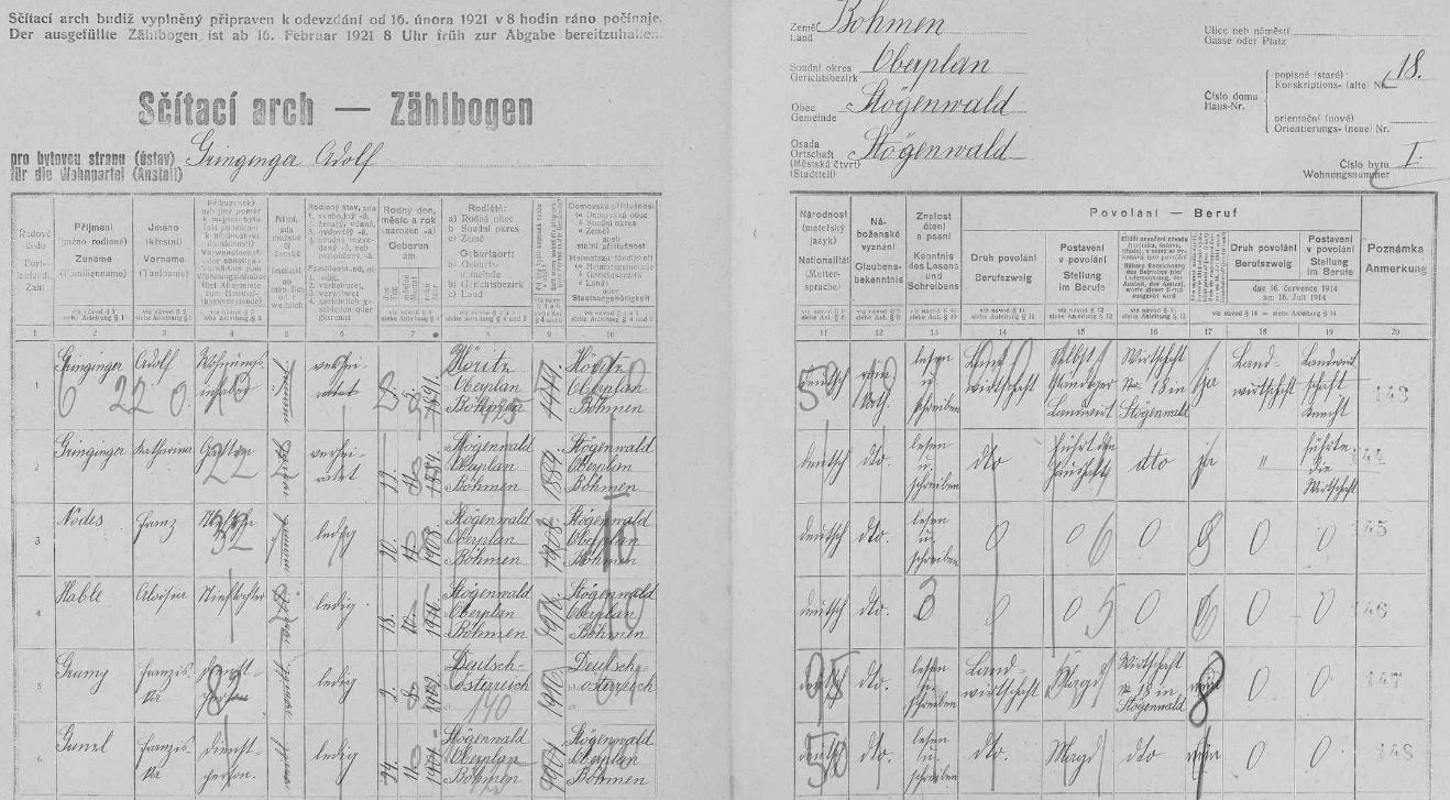Arch sčítání lidu z roku 1921 pro pestřické stavení čp. 18 s rodinou Adolfa a Kathariny Gringingerových, do níž měla Pauline přibýt až v říjnu téhož roku