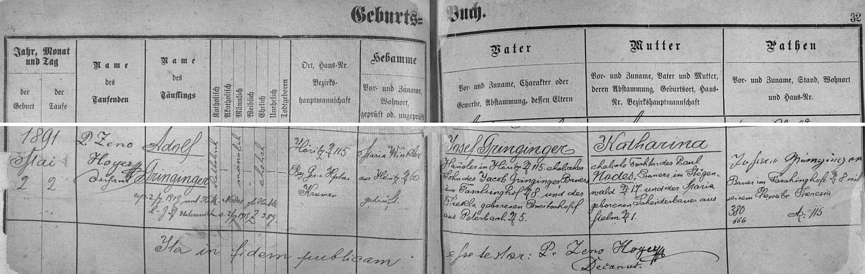 Záznam hořické křestní matriky o narození otcově s pozdějším přípisem o jeho svatbě v roce 1919