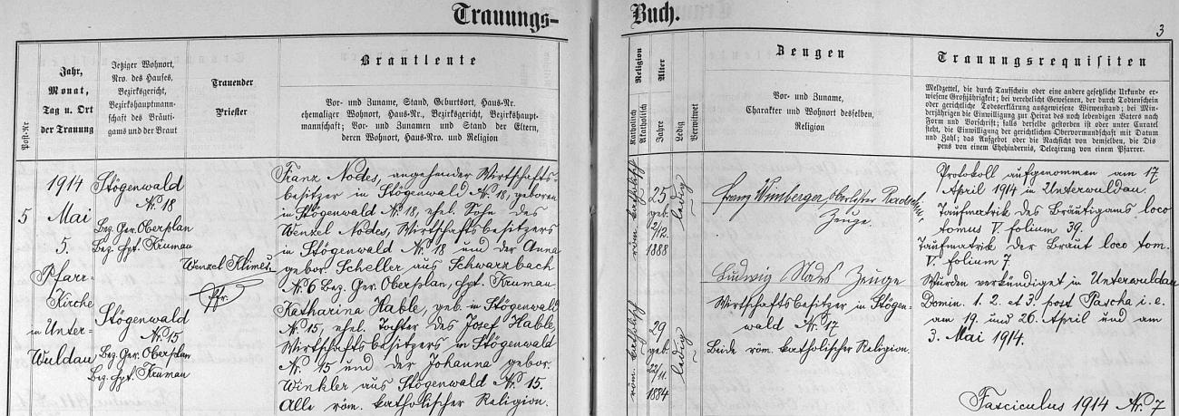 Záznam dolnovltavické oddací matriky o matčině prvé svatbě s Franzem Nodesem 5. května roku 1914