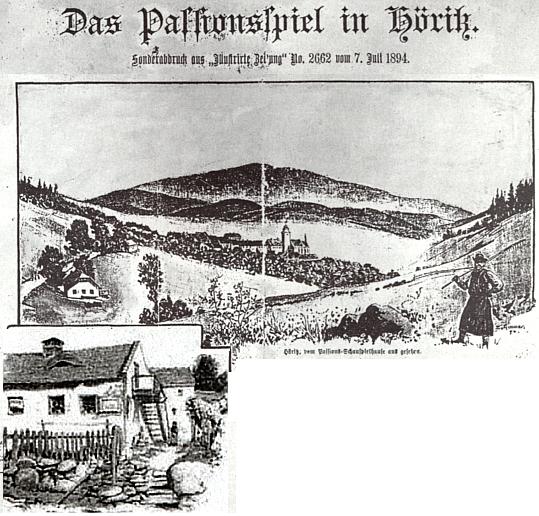 Záhlaví článku o hořických pašijových hrách v Illustrirte Zeitung je provázeno i kresbou Gröllheslova rodného domu