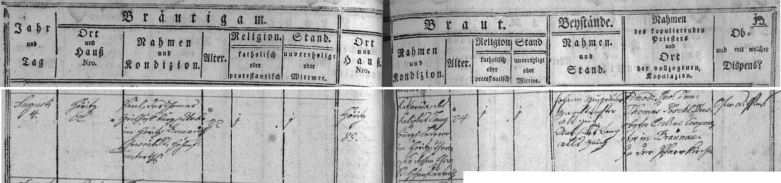 Záznam o jeho svatbě 4. srpna 1808 v hořické oddací matrice
