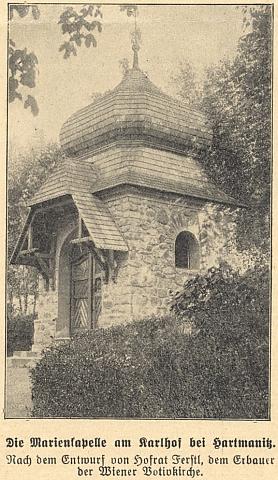 Kaple u Karlova podle návrhu dvorního rady Heinricha von Ferstla, stavitele známého votivního kostela sv. Otmara ve Vídni (mj. se stal předlohou pražského chrámu sv. Ludmily na Královských Vinohradech)