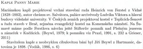 Podle tohoto textu byl stavitelem mariánské kaple u Karlova Georg Beywl, děd Zephyrina Beywla mladšího