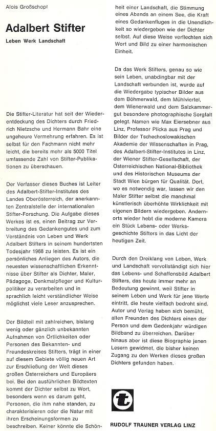 Obálka a vazba (1967) jeho nejzáslužnější publikace vydané v lineckém nakladatelství Rudolf Trauner Verlag