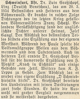 Četl i vlastní povídky na večeru veSchweinfurtu v březnu roku 1954