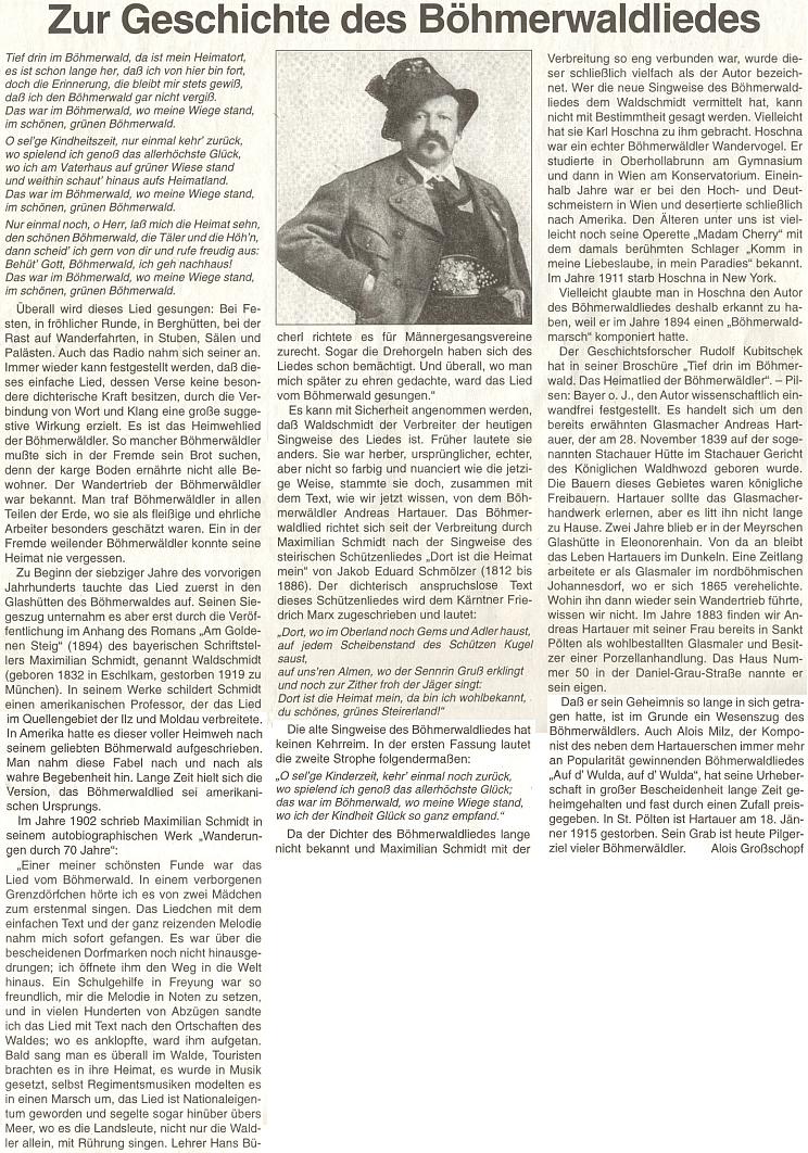 """K historii """"šumavské hymny"""" se vyslovuje tento článek na stránkách rakouského krajanského listu"""