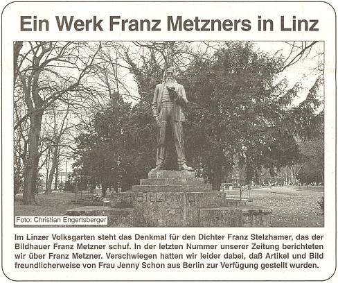 V lineckém parku Volksgarten stojí tato socha Franze Stelzhamera (1802-1874), dílo významného sochaře Franze Metznera (1870-1919), rodáka ze Všerub u Plzně - Alois Grossschopf byl členem sdružení Stelzhamerbund, pojmenovaného právě po klasikovi rakouské nářeční tvorby