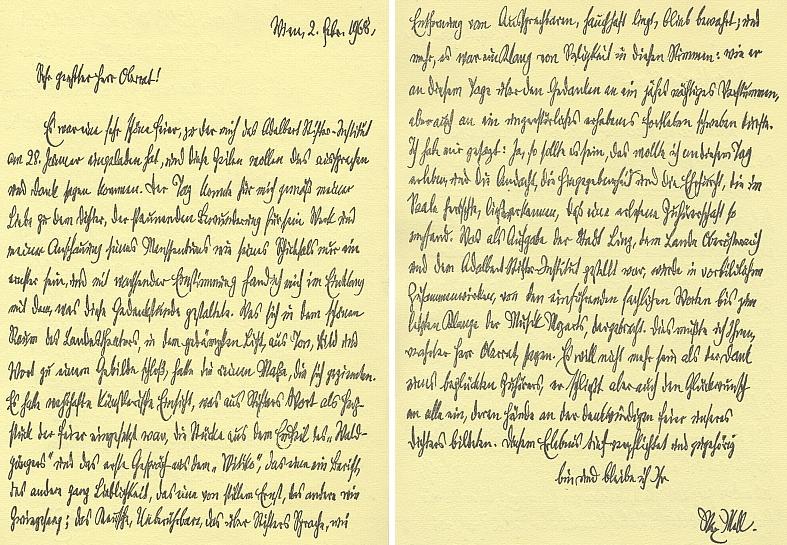 Dopis Maxe Mella (1882-1971) Aloisi Grossschopfovi z února roku 1968