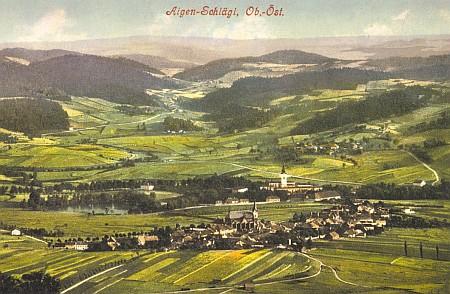 Městečko Aigen s klášterem Schlägl na staré pohlednici
