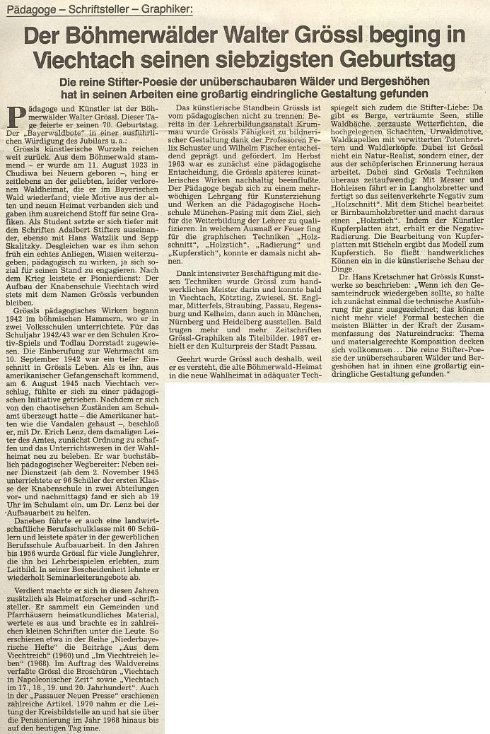 """K jeho sedmdesátinám přetiskl oficiální list krajanského sdružení článek o něm z """"Bayerwaldbote"""""""