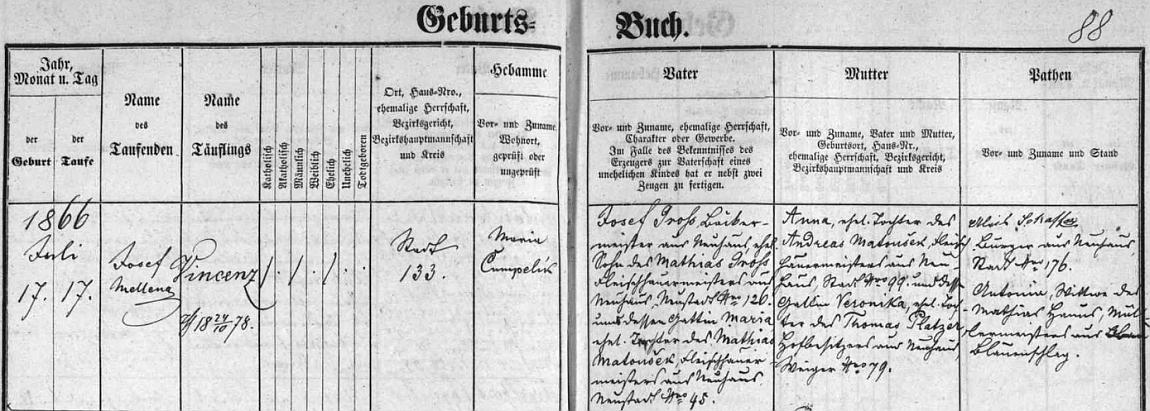 Záznam o jeho narození v jindřichohradecké křestní matrice