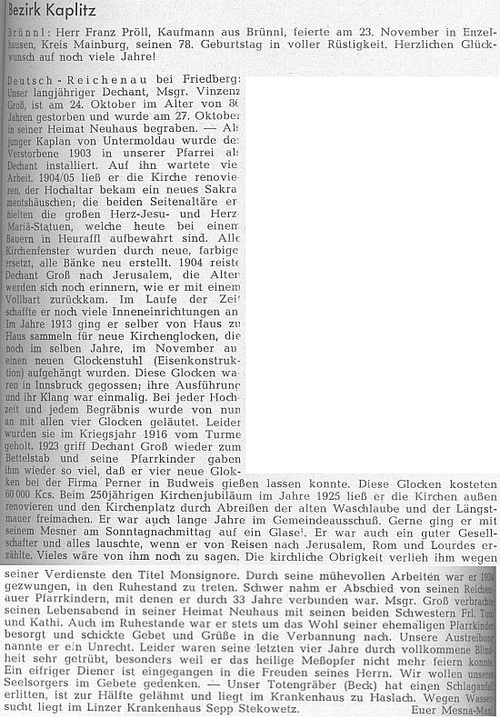 Nekrolog na stránkách krajanského časopisu