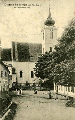 Kostel sv. Václava v Rychnůvku na pohlednici Josefa Seidela