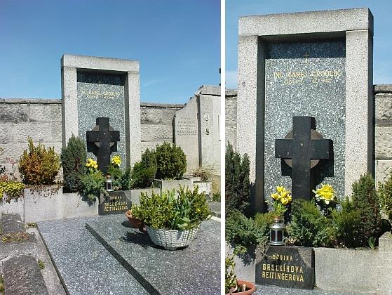 Hrob Karla Groulíka na hřbitově v Mladém