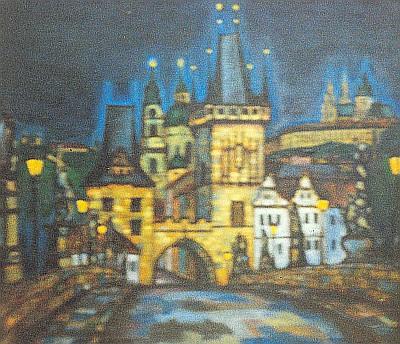Řeka ze Šumavy pod mostem a hvězdy Panevropy nad ním na Groulíkově  malbě z výstavy šumavských umělců vPasově