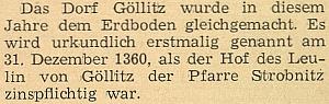Zpráva o zániku Jedlice na stránkách krajanského měsíčníku s uvedením prvé zmínky o obci z roku 1360