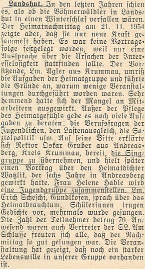 Podle této zprávy krajanského měsíčníku měl v roce 1954 v Landshutu přednášet oHansi Watzlikovi ajeho působení vOndřejově