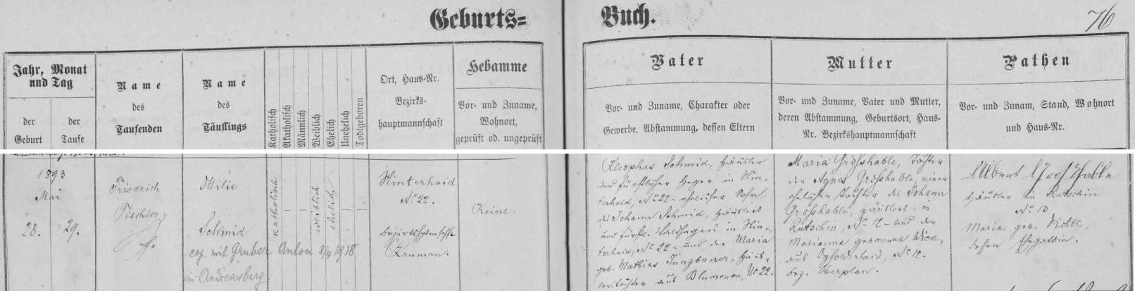 Záznam ondřejovské křestní matriky o narození jeho matky s pozdějším přípisem o její zdejší svatbě