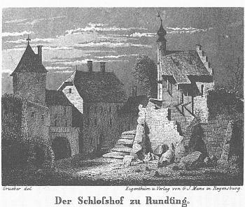 Hrad v Rundingu v Bavorském lese na jeho vyobrazení