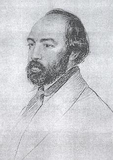 Na portrétní kresbě Georga Kordika z roku 1853, uchovávané ve fondech Krajského muzea vKarlových Varech