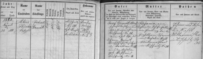 Záznam o jeho narození v křestní matrice farní obce Terčí Ves