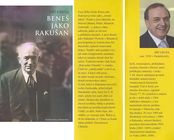 """Obálka (2011) knihy """"Beneš jako Rakušan"""", kterou vydalo nakladatelství Barrister & Principal v Brně"""