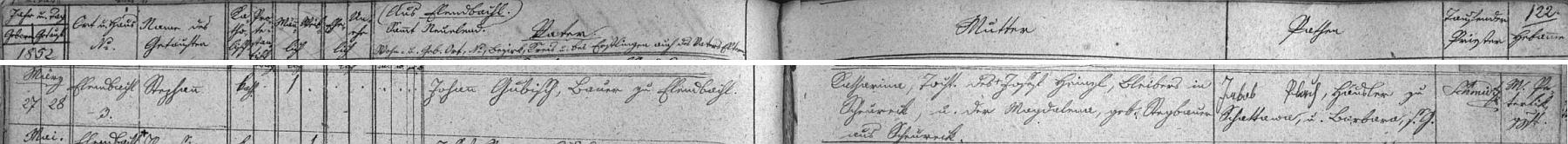 Záznam o narození otcově na stavení čp. 3 v Polce na stránkách hornovltavické křestní matriky