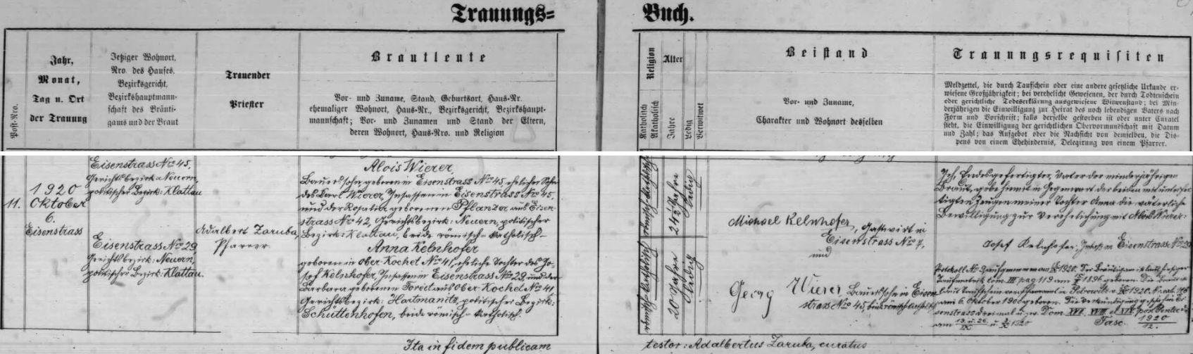 Záznam oddací matriky farní obce Hojsova Stráž o zdejší svatbě jejích rodičů dne 6. října roku 1920 - ženicha, čtyřiadvacet a půl roku starého rolníka Aloise Wierera, narozeného 15. února 1896 v Hojsově Stráži čp. 45, manželského syna zde usedlého Karla Wierera a Rosalie, roz. Pflanzerové z Hojsovy Stráže čp. 42, sezdává tu farář Adalbert Zaruba s dvacetiletou Annou Kelnhoferovou, narozenou dne 6. října roku 1900 v Horním Kochánově (Ober-Kochet) čp. 41, manželskou dcerou Josefa Kelnhofera, usedlého v Hojsově Stráži čp. 29, a Barbary, roz. Foreitové zHorního Kochánova čp. 41 - jako svědkové jsou podepsáni Michael Kelnhofer, hostinský v Hojsově Stráži čp. 7 aGeorg Wierer, rolník v Hojsově Stráži čp. 45