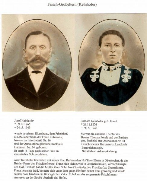 Její dědeček Josef Kelnhofer se svou ženou Barbarou, roz. Foreitovou, hospodařil na rodném statku Frischhof (dnes farma u Fialů na Brčálníku /Frischwinkl/), než odešli na usedlost v Horním Kochánově, ze které manželka pocházela