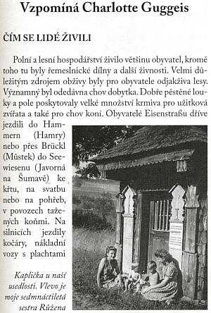 Úvod jejího obsáhlého do češtiny přeloženého textu ve sborníku vzpomínek šumavských rodáků
