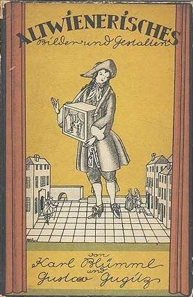 Obálka (1920) knihy o staré Vídni, na které se podílel jako spoluautor