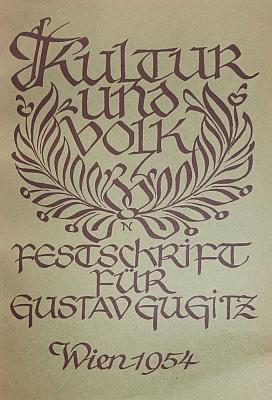 Obálka (1954, Verlag des Österreichischen Museums für Volkskunde) publikacekjeho osmdesátinám