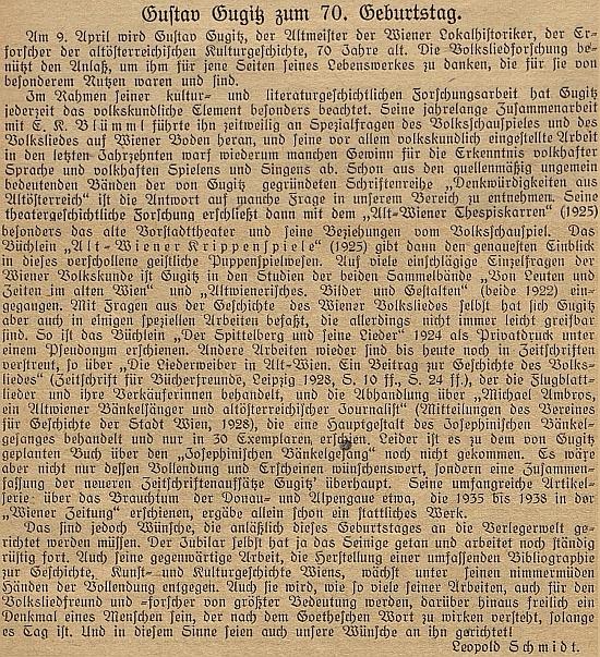 """Text, který vyšel v časopise """"Das deutsche Volkslied"""" u příležitosti jeho sedmdesátin"""