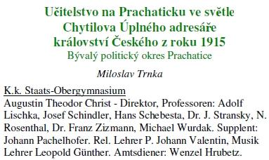 V seznamu učitelského sboru státního vyššího gymnázia v Prachaticích z roku 1915 figuruje jako učitel hudby