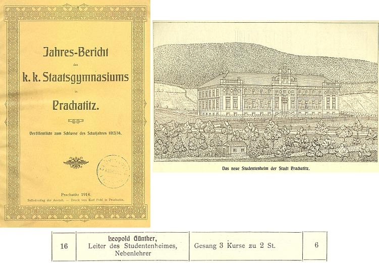 """Ve výroční zprávě prachatického gymnázia z roku 1914 je titulován i coby """"vedoucí studentského domova"""", který je vyobrazen na kresbě z výroční zprávy z roku 1904"""