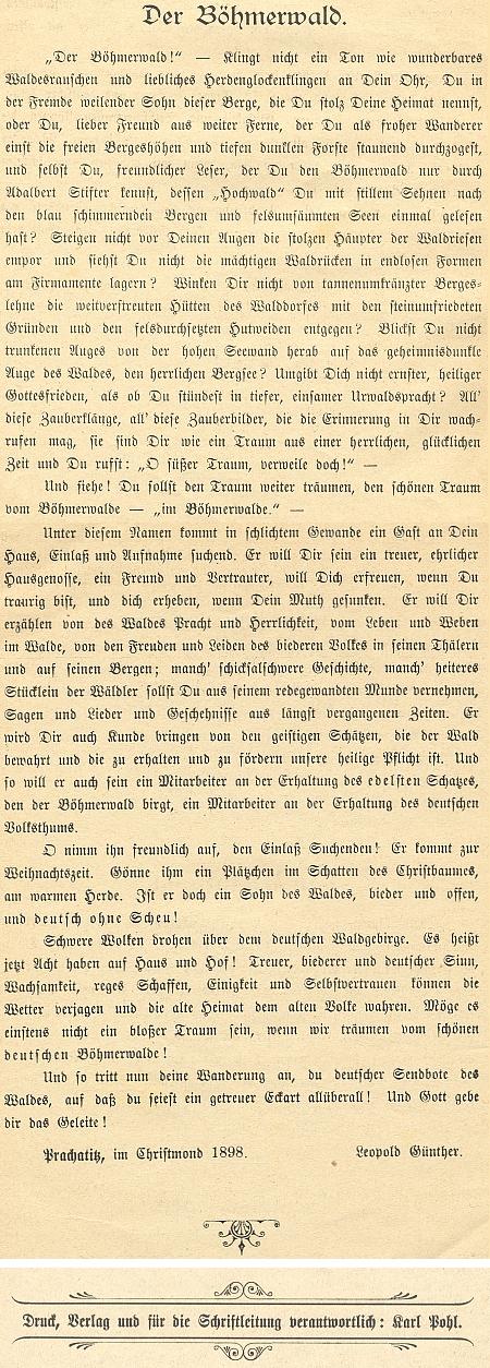 """Tímto svým textem uvedl první číslo časopisu """"Der Böhmerwald"""", za jehož tisk, náklad a redakci odpovídal v roce 1899 Karl Pohl v Prachaticích"""