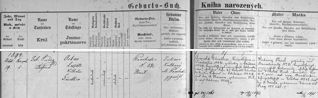 Podle záznamu v prachatické Knize narozených spatřil světlo světa v domě čp. 83 dne 19. října 1894 a byl 5. listopadu toho roku pokřtěn jménem Oskar Leopold Wilhelm Günther - otec Leopold Günther byl v Prachaticích řídícím učitelem (iděd Leopold byl učitelem v otcově rodném Velkém Šenově, tehdy okres Šluknov /dnes Děčín/, babička Theresia byla roz. Hilleová), matka Hedwig, roz. Thielová, pocházela z Bohušovic nad Ohří, okres Litoměřice (její otec Wilhelm Thiel byl železničním úředníkem, maminka Josefa byla roz. Zunová z Prahy)
