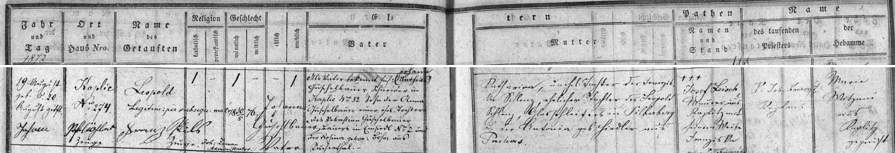 Záznam kaplické křestní matriky o jeho narození