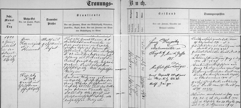 Záznam kaplické oddací matriky o jeho zdejší svatbě v lednu roku 1901 s Barbarou Witzanyovou, dcerou podokováře Franze Witzanyho vKaplici čp. 285 a Kathariny, roz. Červenkové ze Žáru (Sohors) čp. 9