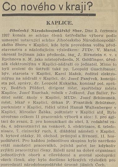 Zpráva listu Republikán o ustavující schůzu Jihočeského národohospodářského sboru v Kaplici, do jehož ústředí byl stejně jako Franz Schützner a Hans Waltenberger zvolen i on