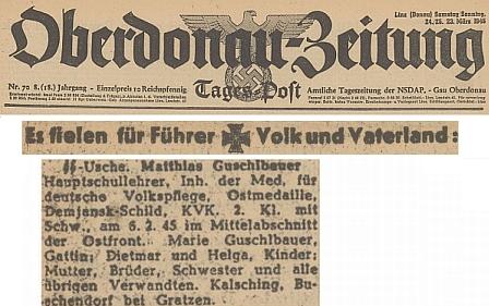 Úmrtní oznámení na stránkách lineckého nacistického deníku